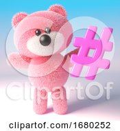 3d Pink Teddy Bear Character Holding A Pink Social Media Hashtag Hash Tag Symbol 3d Illustration