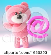 3d Pink Teddy Bear With Fluffy Fur Holding An Email Address Symbol 3d Illustration