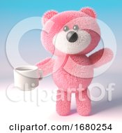 Poster, Art Print Of 3d Pink Teddy Bear Character With Fluffy Fur Drinking A Cup Of Coffee 3d Illustration