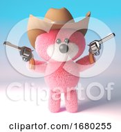 3d Cartoon Pink Fluffy Teddy Bear Character Dressed As A Cowboy With Pistols And Stetson Hat 3d Illustration
