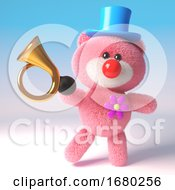 3d Pink Teddy Bear Cuddly Toy Dressed As A Clown With Red Nose Top Hat And Old Car Horn 3d Illustration