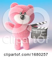 3d Pink Teddy Bear Cuddly Toy Character Holding A Movie Maker Film Slate 3d Illustration