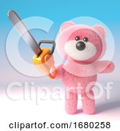 3d Pink Fluffy Teddy Bear Cuddly Toy Holding A Chainsaw 3d Illustration