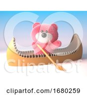 3d Pink Fluffy Teddy Bear Cuddly Toy In A Kayak Canoe 3d Illustration