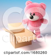 3d Pink Teddy Bear With Fluffy Fur Looking Into An Empty Cardboard Box 3d Illustration