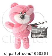 3d Pink Teddy Bear With Fluffy Fur Holding A Movie Slate Clapperboard 3d Illustration