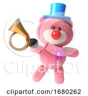 3d Pink Teddy Bear With Soft Fluffy Fur Dressed As A Clown With A Red Nose And Old Car Horn 3d Illustration