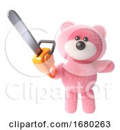 3d Teddy Bear Character With Pink Fluffy Fur Brandishing A Chainsaw 3d Illustration