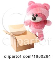 3d Cartoon Fluffy Pink Teddy Bear Character Looking At An Open Empty Box 3d Illustration