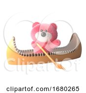 Pink Teddy Bear Fluffy Pink Cartoon 3d Character In A Kayak Canoe 3d Illustration