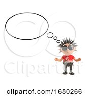 3d Cartoon Punk Rocker Character With Spiky Hair With A Blank Thought Bubble 3d Illustration
