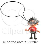 3d Cartoon Punk Rocker Character With A Blank Speech Bubble 3d Illustration