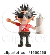 Cartoon 3d Punk Rocker Character With Spiky Hair Holding An Aerosol Spray Can 3d Illustration