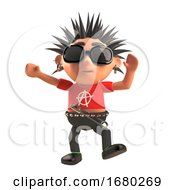 Cartoon 3d Punk Rock Character With Spiky Hair Dances Like A Fool 3d Illustration