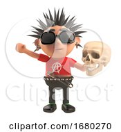 3d Cartoon Punk Rock Character Holding A Human Skull 3d Illustration