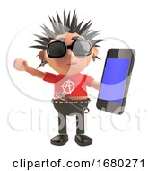 3d Cartoon Punk Rocker With Spiky Hair Using A Smartphone Tablet Device 3d Illustration