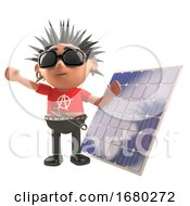 Cartoon 3d Punk Rocker Character Standing In Front Of A Renewable Energy Solar Panel 3d Illustration