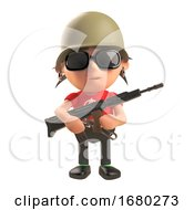 3d Cartoon Punk Rocker Wearing An Army Helmet And Holding An Assault Rifle 3d Illustration