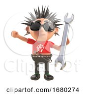 Cartoon 3d Punk Rocker Character With Spiky Hair Holding A Spanner Tool 3d Illustration