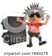 Dancing 3d Cartoon Punk Rocker With Spiky Hair In Front Of A Rave Party Pa Sound System 3d Illustration
