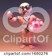 Cartoon 3d Gay Leather Fetish Man Holding A Pink Piggy Bank LGBT 3d Illustration