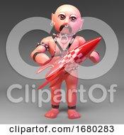 Cartoon 3d Gay Leather Fetish Man Holding A Red Rocket 3d Illustration