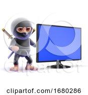 3d Ninja Assassin Next To A Flatscreen Lcd Tv