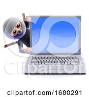 3d Ninja Assassin Behind Laptop Pc