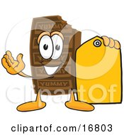 Chocolate Candy Bar Mascot Cartoon Character Holding A Yellow Sales Price Tag