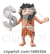 Poster, Art Print Of 3d Cartoon Prehistoric Caveman Character Holding A Rock Us Dollar Currency Symbol 3d Illustration