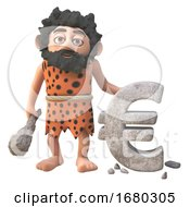 Poster, Art Print Of Funny 3d Cartoon Prehistoric Caveman Character Carving A Euro Currency Symbol In Rock 3d Illustration