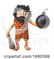 Poster, Art Print Of 3d Cartoon Prehistoric Caveman Character Holding A Gunpowder Bomb And Club 3d Illustration