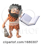 Poster, Art Print Of 3d Cartoon Prehistoric Caveman Character Trying To Read A Book 3d Illustration