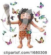Poster, Art Print Of 3d Cartoon Prehistoric Caveman Character With Club Surrounded By Pretty Butterflies 3d Illustration