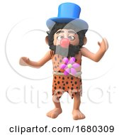 Poster, Art Print Of Cartoon 3d Prehistoric Caveman Dressed As A Clown With A Red Nose 3d Illustration