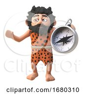Poster, Art Print Of Cartoon 3d Prehistoric Caveman Character Holding A Magnetic Compass 3d Illustration