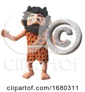 Cartoon 3d Prehistoric Caveman Character Holding A Rock Copyright Symbol 3d Illustration