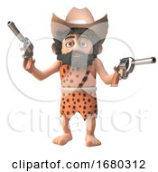 Poster, Art Print Of 3d Prehistoric Caveman Character Wearing A Cowboy Stetson Hat And Holding Two Pistols 3d Illustration