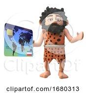 Cartoon 3d Prehistoric Caveman Character Holding A Debit Credit Card 3d Illustration