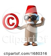3d Funny Cartoon Moroccan Man Wearing Fez And Holding Copyright Symbol