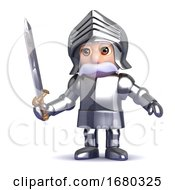 3d Knight With Sword Drawn