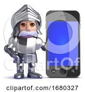 3d Knight Next To Smartphone