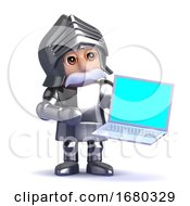 3d Knight In Armour With A Laptop