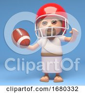 3d Cartoon Jesus Christ Character Playing American Football 3d Illustration