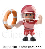 3d American Football Player Holds Out A Life Ring