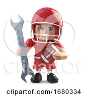 3d American Football Player Holding A Spanner