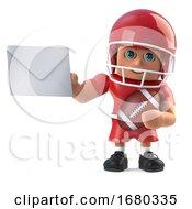 3d American Footballer Holding An Envelope