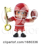 3d American Footballer Holding A Gold Key And Football