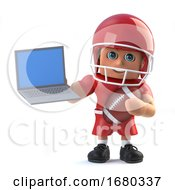3d American Footballer Holding A Laptop Pc
