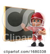 Poster, Art Print Of 3d American Footballer Teaches At The Blackboard